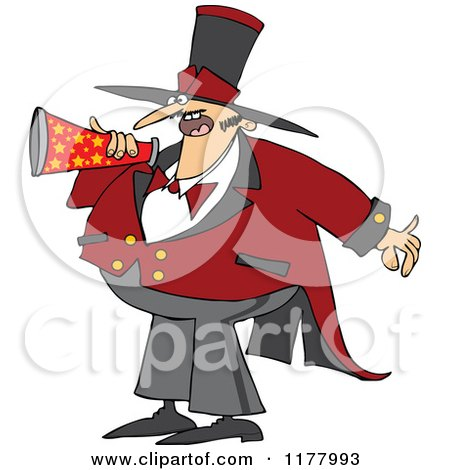 Cartoon of a Chubby Male Circus Ringmaster Announcing Through a Megaphone - Royalty Free Vector Clipart by djart