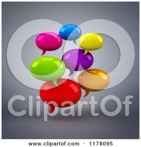Clipart of 3d Colorful Chat Balloons over Gray - Royalty Free CGI Illustration by Julos