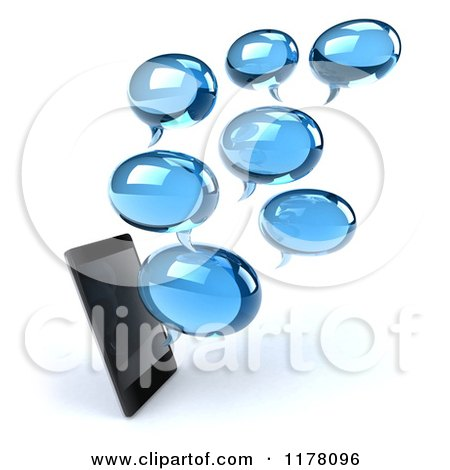 Clipart of a 3d Smartphone with Chat Balloons - Royalty Free CGI Illustration by Julos