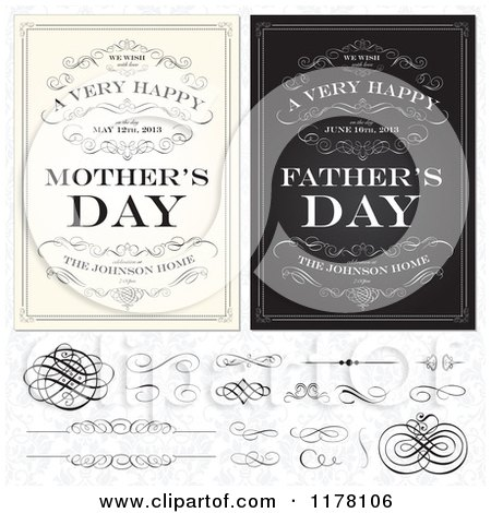 Clipart of Vintage Happy Mothers and Fathers Day Greetings with Sample Text Swirls and Design Elements over a Floral Pattern - Royalty Free Vector Illustration by BestVector