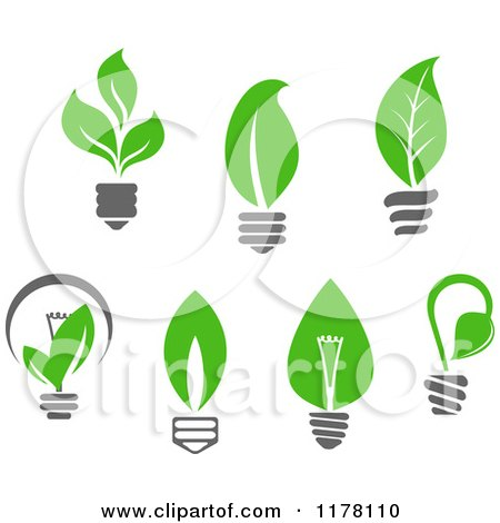 Clipart of Green Leaf Sustainable Energy Lightbulbs - Royalty Free Vector Illustration by Vector Tradition SM