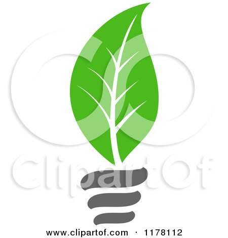 Clipart of a Green Leaf Sustainable Energy Lightbulb 3 - Royalty Free Vector Illustration by Vector Tradition SM