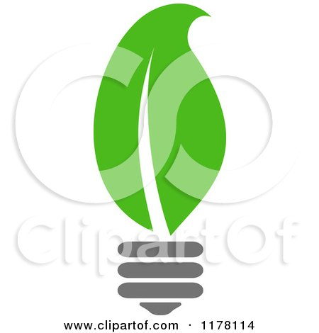 Clipart of a Green Leaf Sustainable Energy Lightbulb 2 - Royalty Free Vector Illustration by Vector Tradition SM