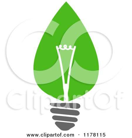 Clipart of a Green Leaf Sustainable Energy Lightbulb 6 - Royalty Free Vector Illustration by Vector Tradition SM