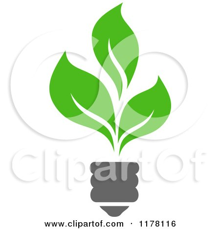 Clipart of a Green Leaf Sustainable Energy Lightbulb - Royalty Free Vector Illustration by Vector Tradition SM