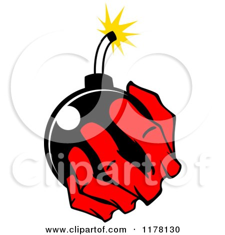 Clipart of a Red Hand Holding a Bomb - Royalty Free Vector Illustration by Vector Tradition SM