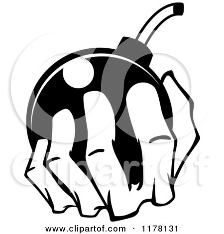 Clipart of a Black and White Hand Holding a Bomb - Royalty Free Vector Illustration by Vector Tradition SM