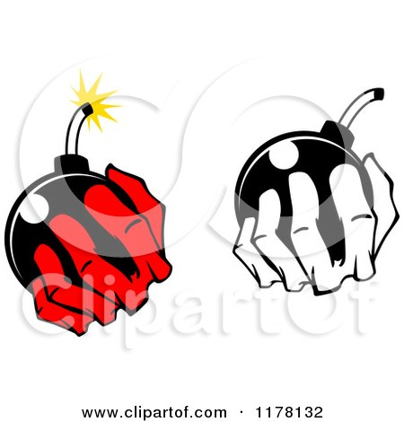 Clipart of Black and White and Red Hands Holding a Bomb - Royalty Free Vector Illustration by Vector Tradition SM