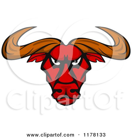 Clipart of an Intimidating Red Bull Head - Royalty Free Vector Illustration by Vector Tradition SM