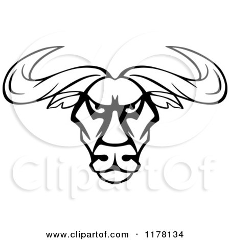 Clipart of an Intimidating Black and White Bull Head - Royalty Free Vector Illustration by Vector Tradition SM