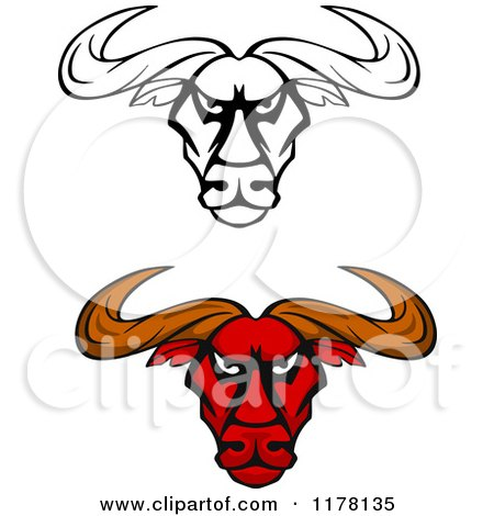 Clipart of Intimidating Red and Black and White Bull Heads - Royalty Free Vector Illustration by Vector Tradition SM