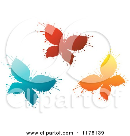 Clipart of Red Blue and Orange Ink Splatter Butterflies - Royalty Free Vector Illustration by Vector Tradition SM