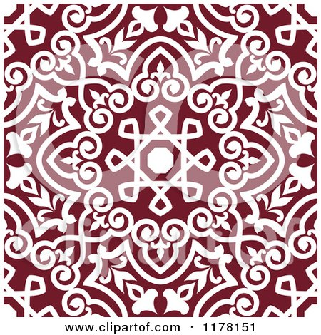 Clipart of a Seamless Maroon and White Arabic Floral Pattern - Royalty Free Vector Illustration by Vector Tradition SM