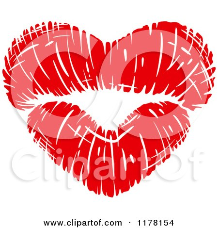 Clipart of Red Puckered Lips in the Shape of a Heart - Royalty Free Vector Illustration by Vector Tradition SM