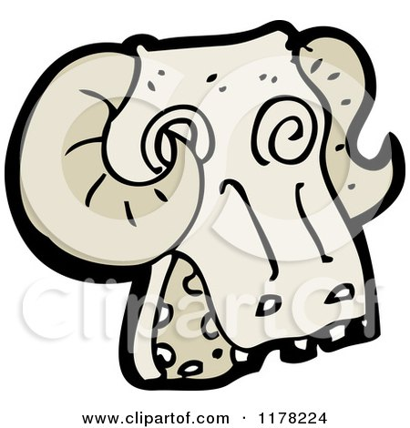 Cartoon of a Ram's Skull - Royalty Free Vector Illustration by lineartestpilot