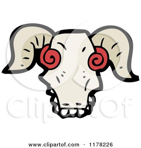 Cartoon of a Ram's Skull - Royalty Free Vector Illustration by lineartestpilot