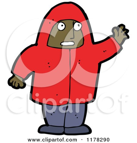 Cartoon of an African American Boy Wearing a Hoodie - Royalty Free Vector Illustration by lineartestpilot