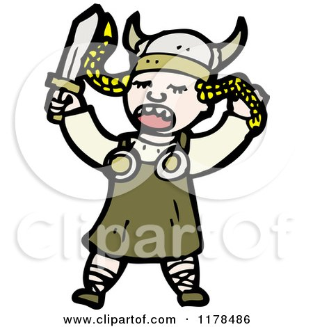 Cartoon of a Viking Woman Singing Opera - Royalty Free Vector Illustration by lineartestpilot