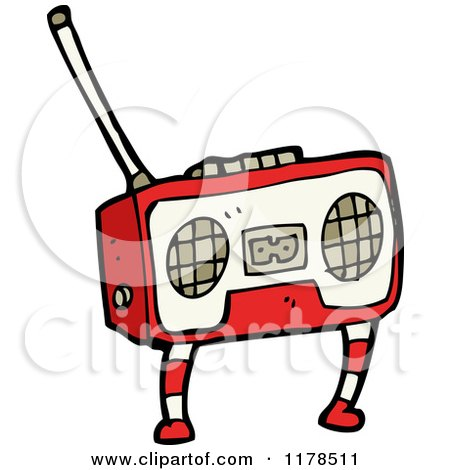 Cartoon of a Boom Box - Royalty Free Vector Illustration by lineartestpilot