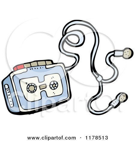 Cartoon of Cassette Player with Earphones - Royalty Free Vector Illustration by lineartestpilot
