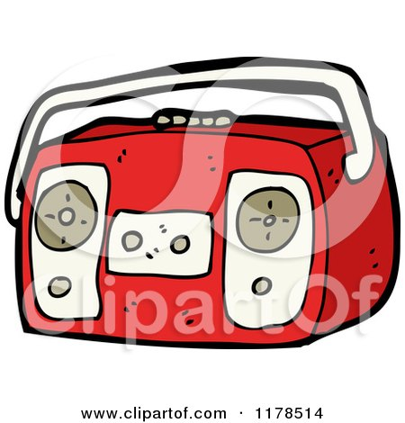 Cartoon of Boom Box - Royalty Free Vector Illustration by lineartestpilot