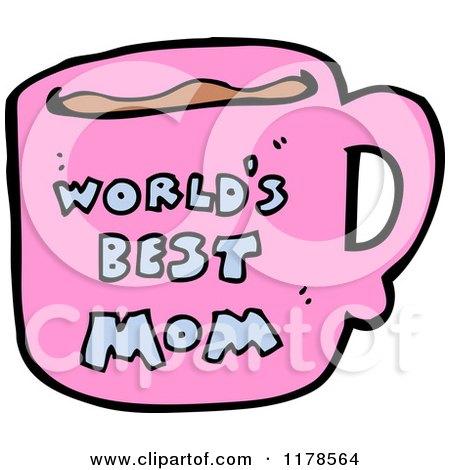 Cartoon of a World's Best Mom Mug - Royalty Free Vector Illustration by lineartestpilot