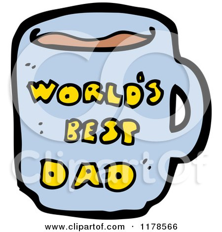 Cartoon of a World's Best Dad Mug - Royalty Free Vector Illustration by lineartestpilot