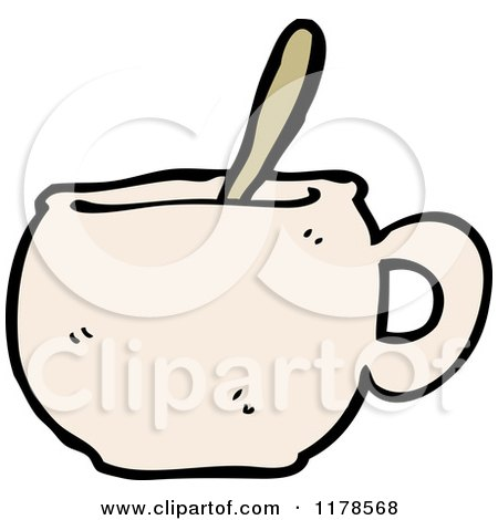 Cartoon of a Coffee Mug with a Spoon - Royalty Free Vector Illustration by lineartestpilot