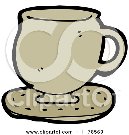 Cartoon of a Coffee Mug on a Saucer - Royalty Free Vector Illustration by lineartestpilot