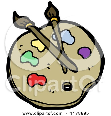 Cartoon of an Artist Palette with Paintbrushes - Royalty Free Vector Illustration by lineartestpilot