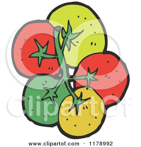 Cartoon of a Bunch of Tomatoes - Royalty Free Vector Illustration by lineartestpilot