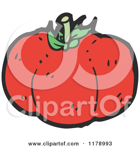 Cartoon of a Tomato - Royalty Free Vector Illustration by lineartestpilot