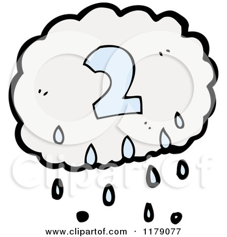 Cartoon of a Raincloud with the Number 2 - Royalty Free ...