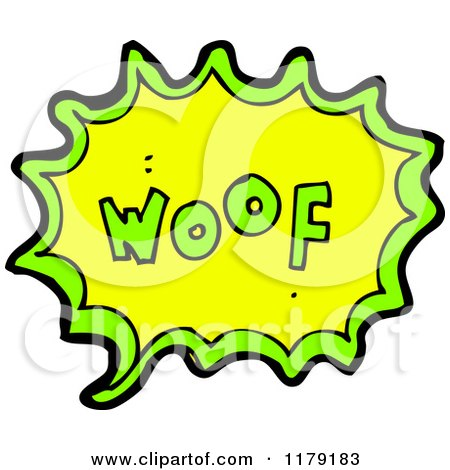 Cartoon of a Conversation Bubble with the Word WOOF - Royalty Free Vector Illustration by lineartestpilot