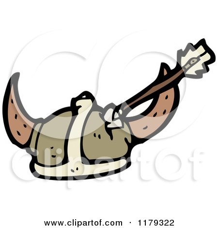 Cartoon of a Viking Helmet with an Arrow - Royalty Free Vector Illustration by lineartestpilot