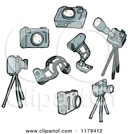 Cartoon of Camera, Film, and Tripods - Royalty Free Vector Illustration by lineartestpilot