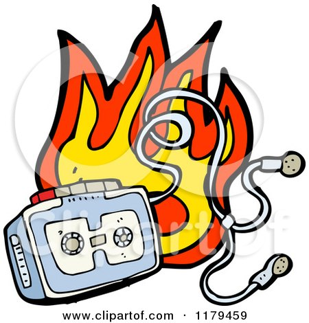 Cartoon of a Flaming Cassette Player with Earphones - Royalty Free Vector Illustration by lineartestpilot