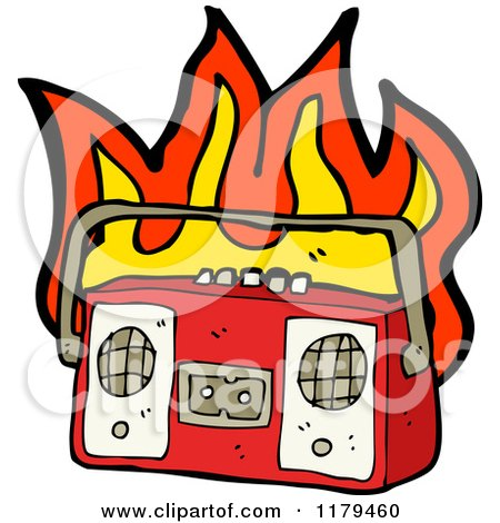 Cartoon of a Flaming Cassette Player - Royalty Free Vector Illustration by lineartestpilot