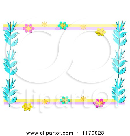 Cartoon of a Flower and Blue Leaf Border Frame - Royalty Free Vector Clipart by bpearth
