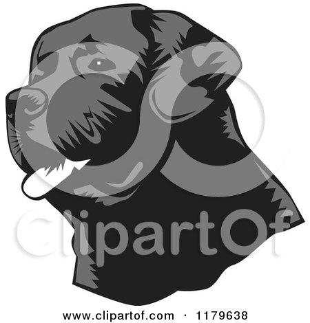 Cartoon of a Panting Black Lab Dog Face - Royalty Free Vector Clipart by David Rey