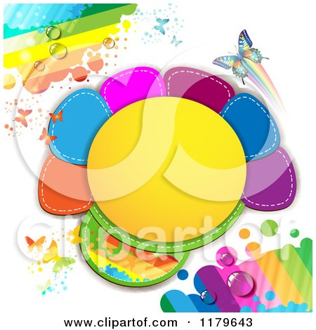 Clipart of a Spring Time Dewy Rainbow Butterfly and Colorful Frame Background - Royalty Free Vector Illustration by merlinul