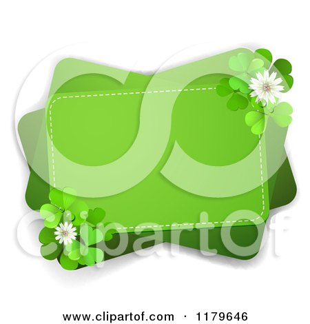 Clipart of a Green Rectangles with Clover Flowers and Shamrocks on White - Royalty Free Vector Illustration by merlinul