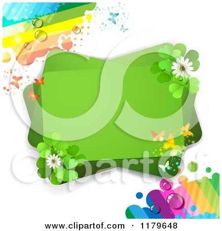 Clipart of a Green Rectangles with Butterflies Clover Flowers and Dewy Rainbows - Royalty Free Vector Illustration by merlinul