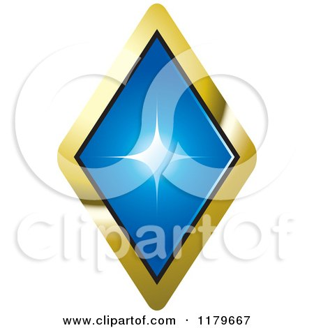 Clipart of a Blue Diamond in a Gold Setting - Royalty Free Vector Illustration by Lal Perera
