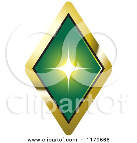 Clipart of a Green Emerald or Diamond in a Gold Setting - Royalty Free Vector Illustration by Lal Perera