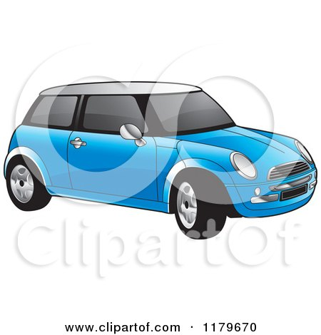 Clipart of a Blue Mini Cooper Car - Royalty Free Vector Illustration by Lal Perera