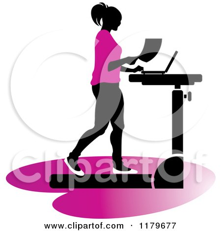 Clipart of a Silhouetted Woman in Pink, Walking at a Treadmill Work Station Desk - Royalty Free Vector Illustration by Lal Perera