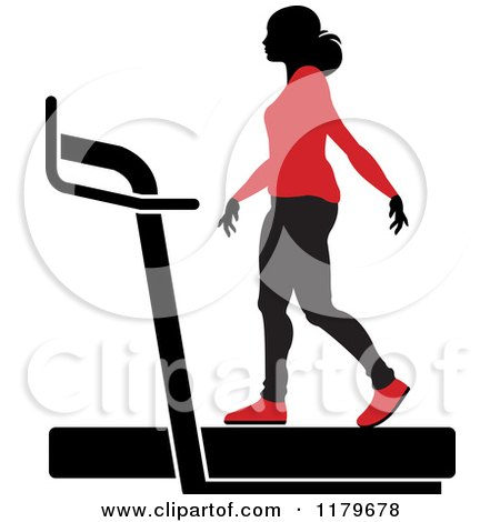 Clipart of a Silhouetted Woman in a Red Outfit, Walking on a Treadmill - Royalty Free Vector Illustration by Lal Perera