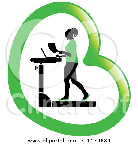 Clipart of a Silhouetted Woman in Green, Walking at a Treadmill Work Station Desk in a Heart - Royalty Free Vector Illustration by Lal Perera