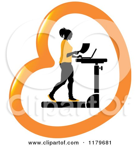 Clipart of a Silhouetted Woman in Orange, Walking at a Treadmill Work Station Desk in a Heart - Royalty Free Vector Illustration by Lal Perera